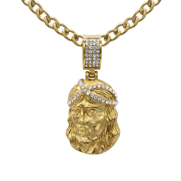Jesus Pendant with Necklace Set Cubic Zirconia 14K Gold Plated Stainless Steel