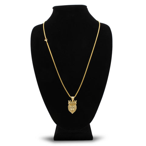 Crowned Lion Cubic Zirconia Eyes Pendant with Necklace Set 14K Gold Plated