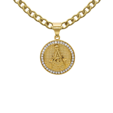 Masonic Sign Cubic Zirconia Pendant with Necklace Set 14K Gold Plated