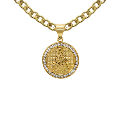 Masonic Pendant Cubic Zirconia 14K Gold Plated Stainless Steel