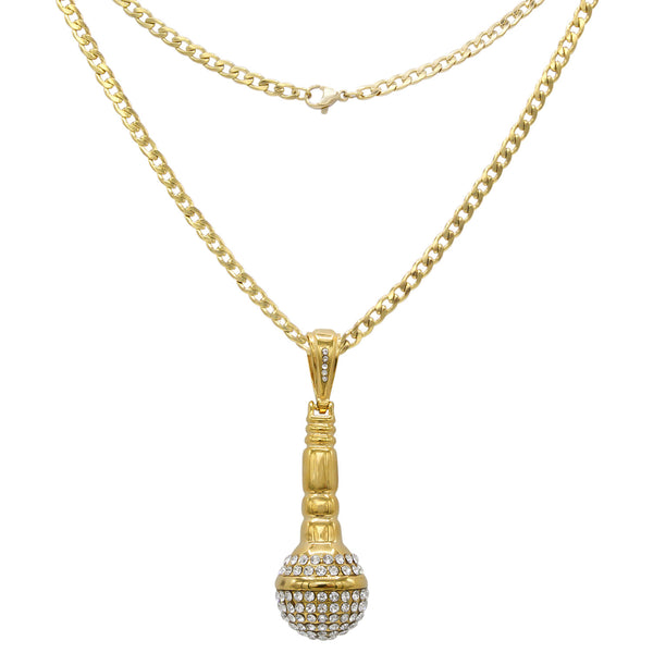 Microphone Cubic Zirconia Pendant with Necklace Set 14K Gold Plated Stainless Steel