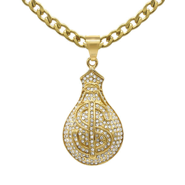 Money Pendant Cubic Zirconia 14K Gold Plated Stainless Steel