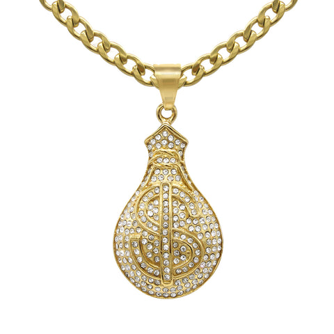 Money Cubic Zirconia Pendant with Necklace Set 14K Gold Plated Stainless Steel
