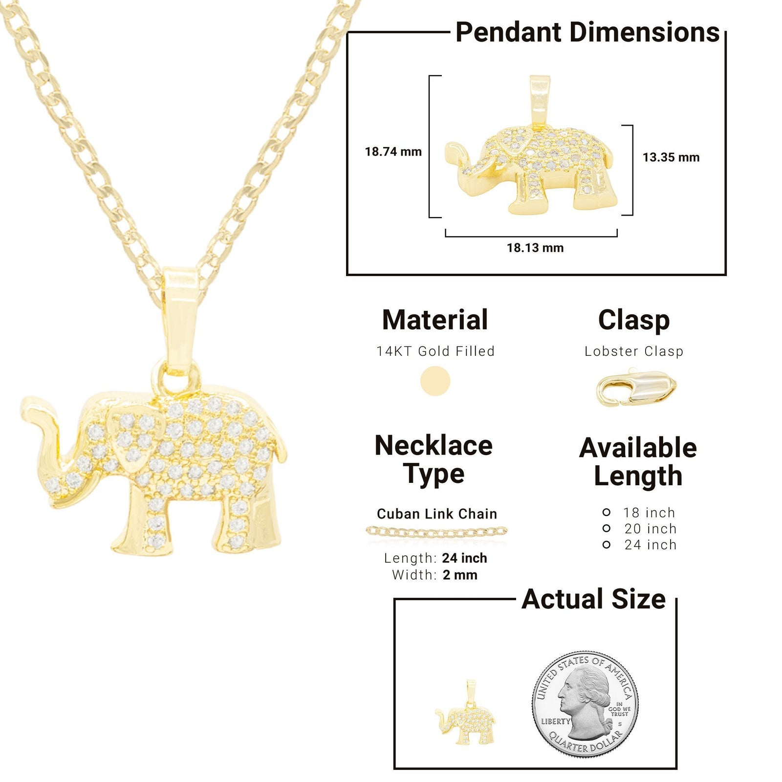 Elephant Necklace and Earring Set of 14K Gold Filled with Cubic Zirconia Gemstones