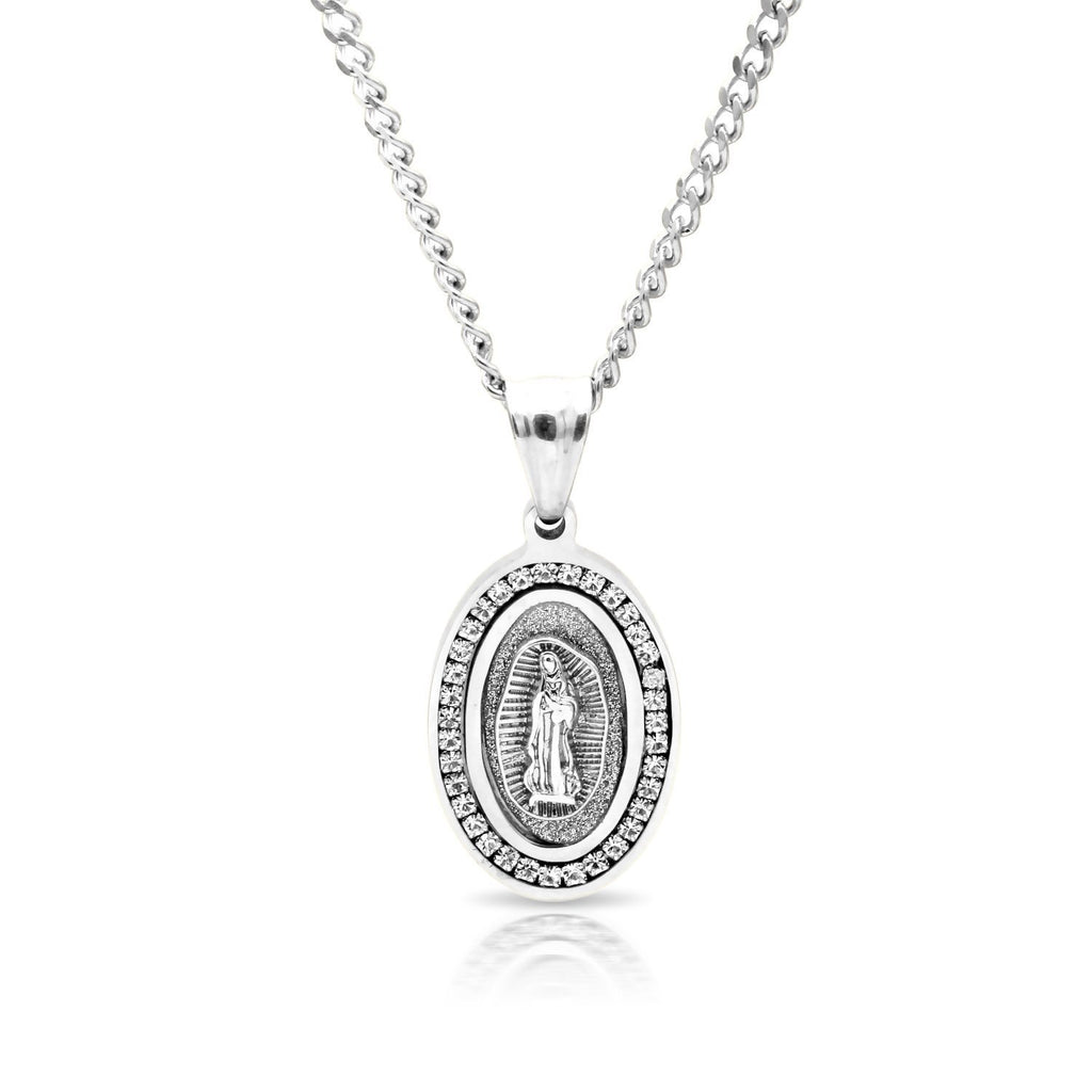 Iced Out Virgin Mary Charm Necklace Stainless Steel Bling CZ