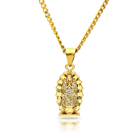 Iced Out Virgin Mary Sun Charm Necklace Stainless Steel Bling CZ