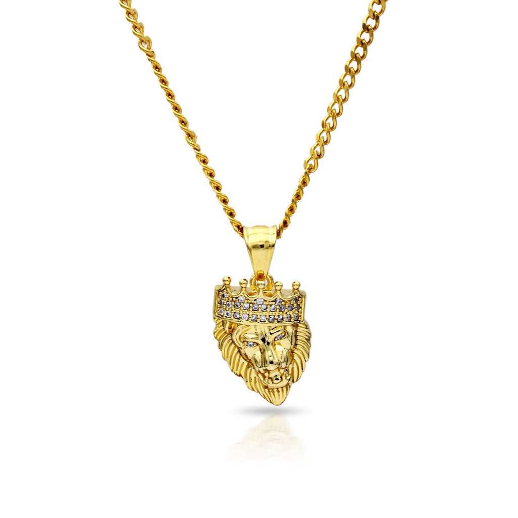 Iced Out Lion with Crown Charm Necklace Stainless Steel Bling CZ