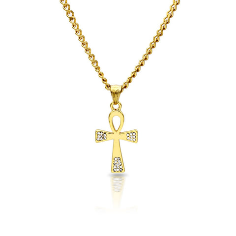 Iced Out Ankh Charm Necklace Stainless Steel Bling CZ