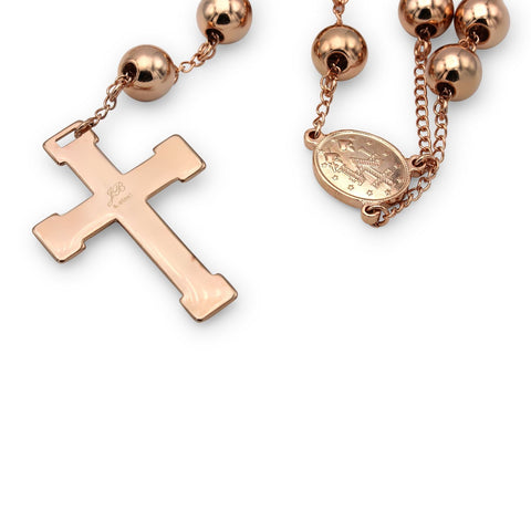 Traditional Rosary Necklace Five Decade Stainless Steel Catholic Prayer Beads (Rose Gold) 10mm