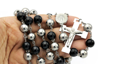 Traditional Rosary Necklace Five Decade Stainless Steel Catholic Prayer Beads (Silver/Black) 10mm