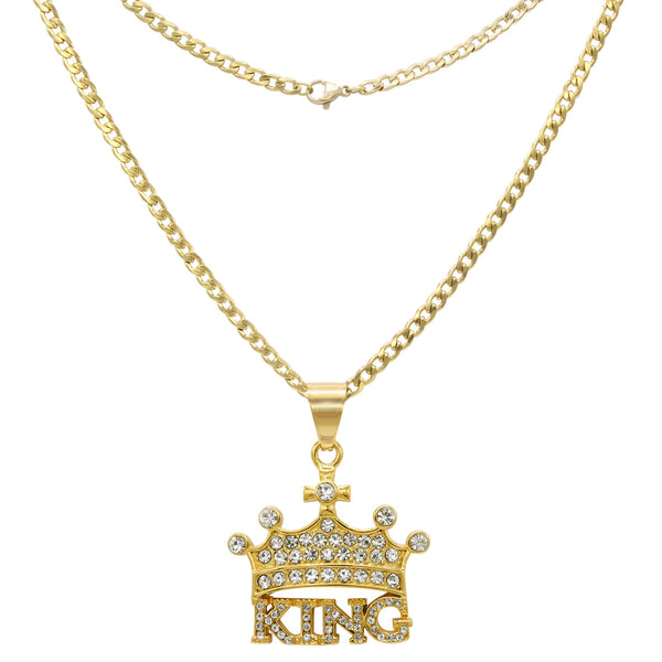 Chain with Crown Cubic Zirconia Pendant Necklace Set 14K Gold Plated Stainless Steel Lobster Clasp Fashion Jewelry for Men