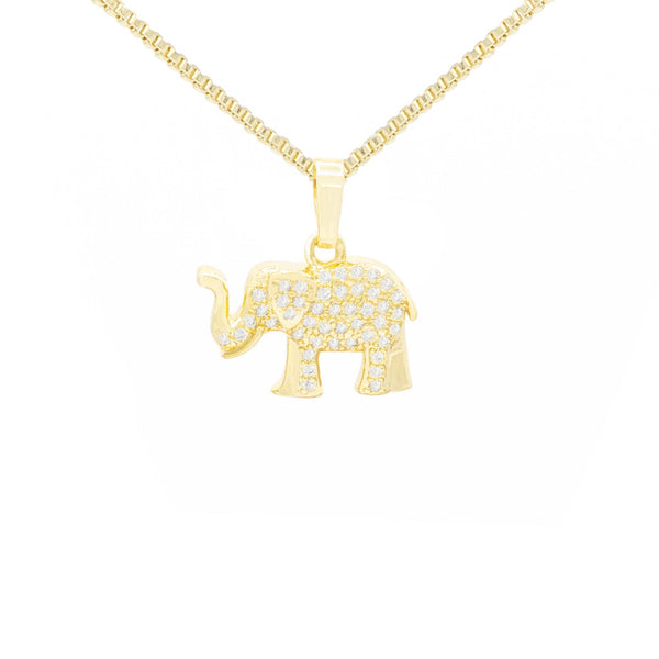 Elephant Cubic Zirconia Pendant With Necklace Set 14K Gold Filled