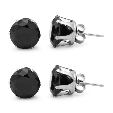 Stud Earring Set of 2 Black Round Cubic Zirconia Stainless Steel CZ Studs