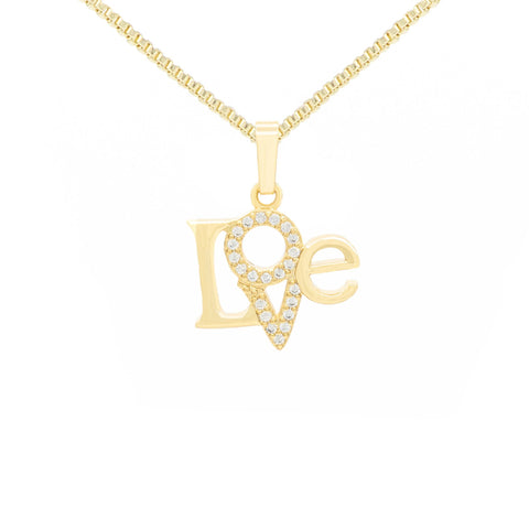 Triangl Love Cubic Zirconia Pendant With Necklace Set 14K Gold Filled