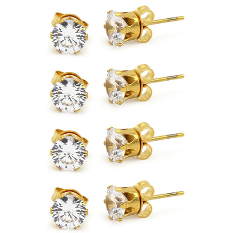Stud Earring Set of 4 Cubic Zirconia Earrings Shinny Unisex Gold Round Ear Jewelry
