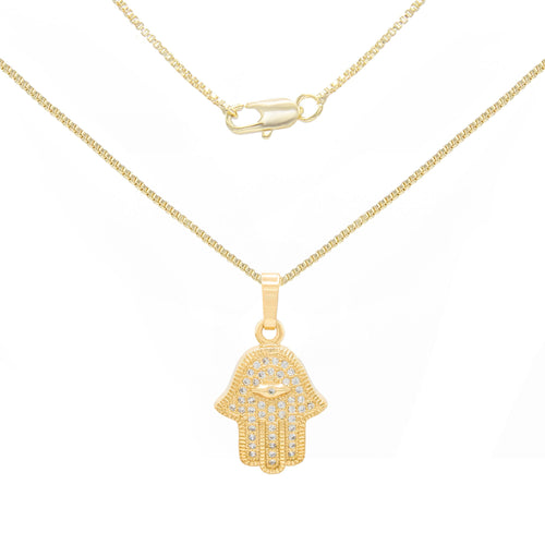 "Hamsa Hand Pendant 14K Gold Filled Box Chain Necklace Set Lobster Clasp 1.2 mm 18"" 20"" 24"""