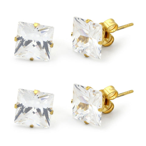 Stud Earring Set of 2 Square Cubic Zirconia 14K Gold Plated Stainless Steel Studs