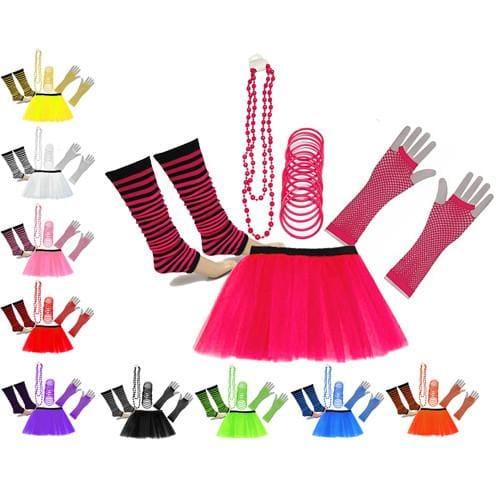 Neon UV Tutu Skirt Stripe Leg Warmer Gummies Beads Hen Fancy Dress Party Costumes Set - Adult Size 6 to 26 - Costumes Set