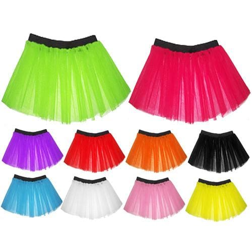 Children Girls Neon 3 Layers of Net UV Tutu Skirt Fancy Dress Party Costume - Children 4-14 Years - Skirts