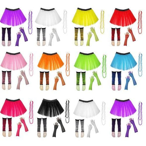 Children Girls Neon UV Tutu Skirt Stripe Leg Warmer Beads Fancy Dress Party Costumes Set - Size 4 to 14 Years - Children Costumes Set