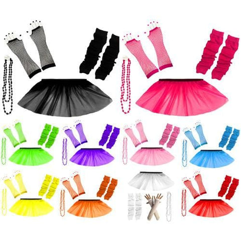 Children Girls Neon UV Tutu Skirt Plain Leg Warmer Beads Fancy Dress Party Costumes Set - Size 4 to 14 Years - Children Costumes Set