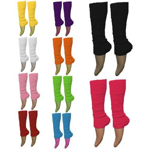 Ladies Girls Plain Solid Legwarmers For Tutu Hen Flo Fancy Dress Party - One Size Fits All - Accessory