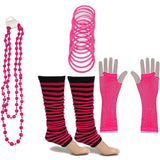 Neon 80s Fancy Dress Hen Party Tutu Costumes Set Stripe Leg warmers Gloves Necklace - One Size Fits All - Hot Pink - Costume Set