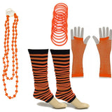 Neon 80s Fancy Dress Hen Party Tutu Costumes Set Stripe Leg warmers Gloves Necklace - One Size Fits All - Orange - Costume Set