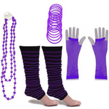Neon 80s Fancy Dress Hen Party Tutu Costumes Set Stripe Leg warmers Gloves Necklace - One Size Fits All - Purple - Costume Set