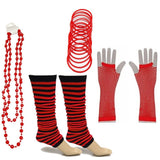 Neon 80s Fancy Dress Hen Party Tutu Costumes Set Stripe Leg warmers Gloves Necklace - One Size Fits All - Red - Costume Set