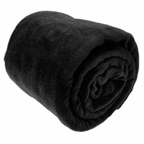 fleece blankets and fleece bed throws colour black