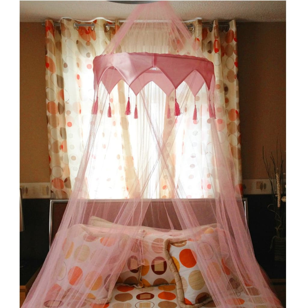 - UK Retail & Wholesale - Pink Single Entry Mosquito Net Satin Crown