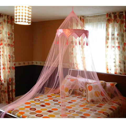 Pink Single Entry Mosquito Net Satin Crown Canopy Fly Net Netting For Single Double King Size Bed - Mosquito Canopy Net