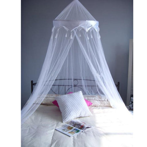 White Single Entry Mosquito Net Satin Crown Canopy Fly Net Netting For Single Double King Size Bed - Mosquito Canopy Net
