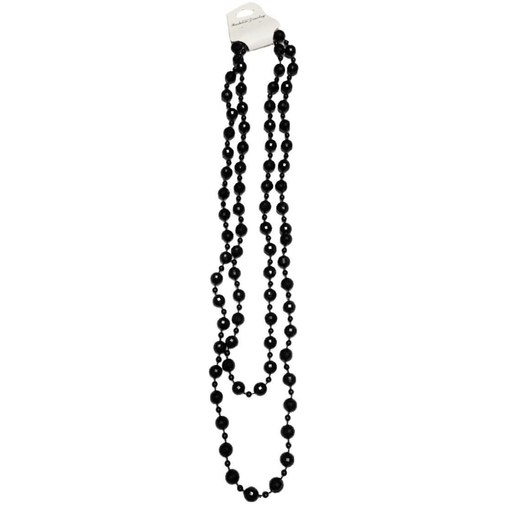 Neon UV Bright 48 Long Beads Beaded Necklaces For Tutu Fancy Dress Party Costumes - Black - Accessory