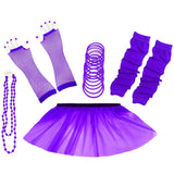 1980s Neon UV Tutu Skirt Plain Solid Leg Warmer Gummies Beads Hen Fancy Dress Party Costumes Set - Adult Size 6 to 26 - Purple / 6-14 -