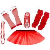 1980s Neon UV Tutu Skirt Plain Solid Leg Warmer Gummies Beads Hen Fancy Dress Party Costumes Set - Adult Size 6 to 26 - Red / 6-14 -