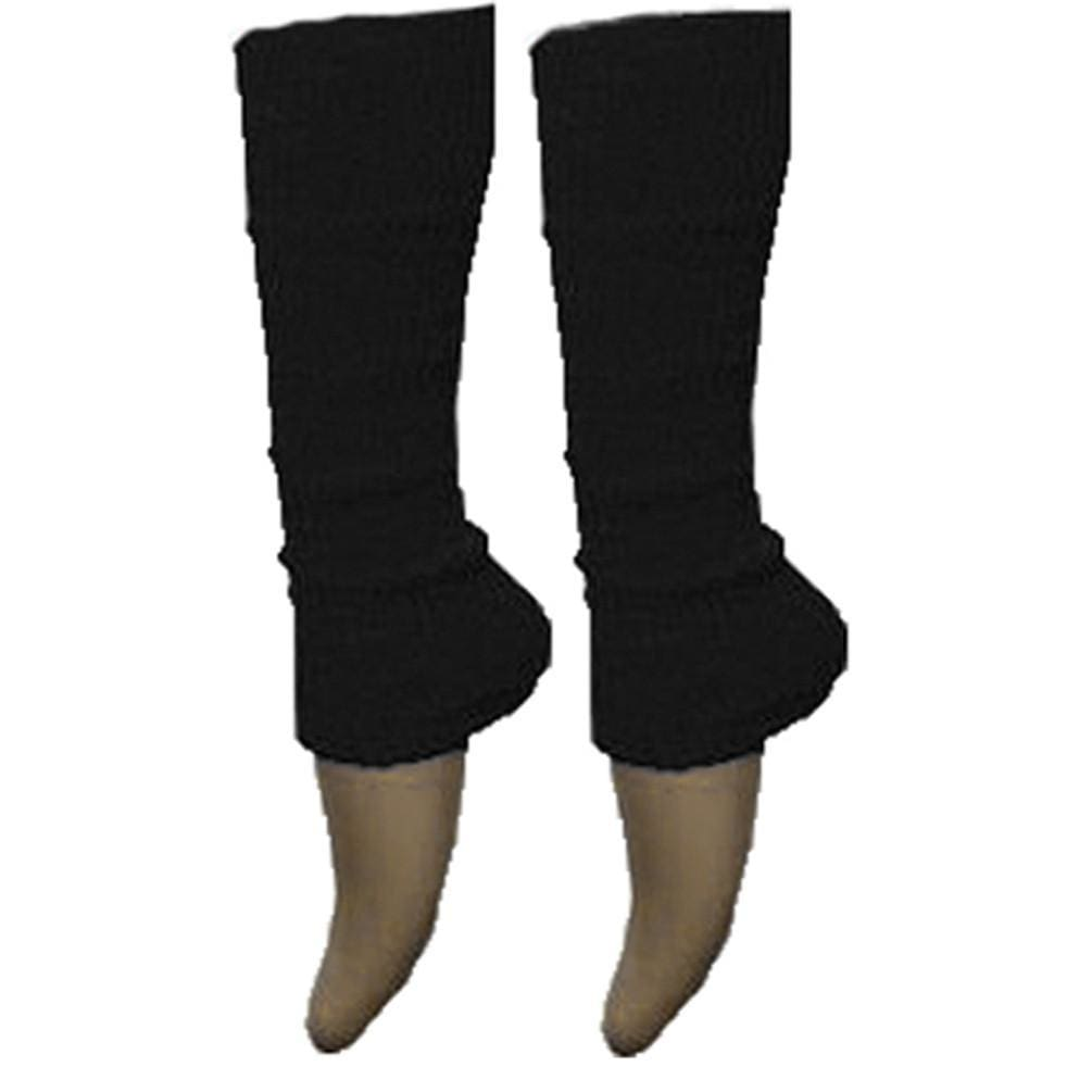 Ladies Girls Plain Solid Legwarmers For Tutu Hen Flo Fancy Dress Party - One Size Fits All - Black - Accessory