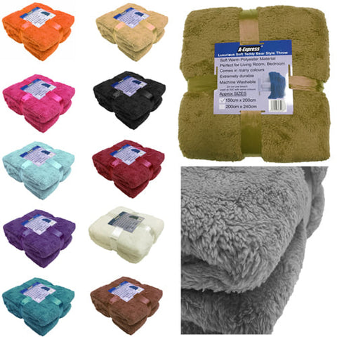 Large Soft Warm Fleece Cuddly Teddy Bear Throw Sofa Bed Blanket 3 Sizes Available