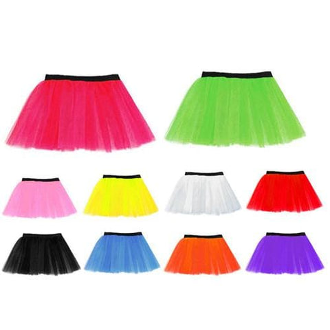 14 Neon 3 Layers of Net UV Flo Long Tutu Skirt For Hen Fancy Dress Party - Adult Size 6 to 26 - Skirts