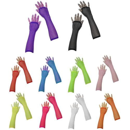 Neon UV Long Fishnet Gloves For Fancy Dress Hen Night Party Costumes Tutu - One Size Fits All - Accessory