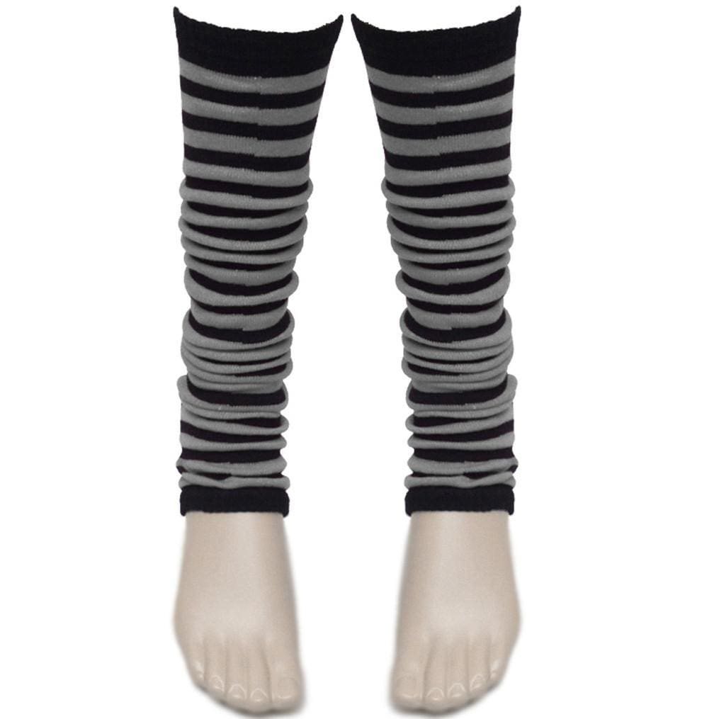 Ladies Girls Stripe Striped Legwarmers For Tutu Hen Flo Fancy Dress Party - One Size Fits All - Black - Accessory