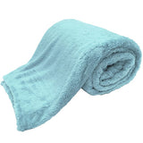 teddy blankets bed throws - duck egg blue