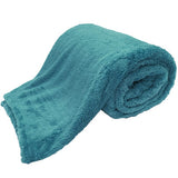 teddy blankets bed throws - teal blue