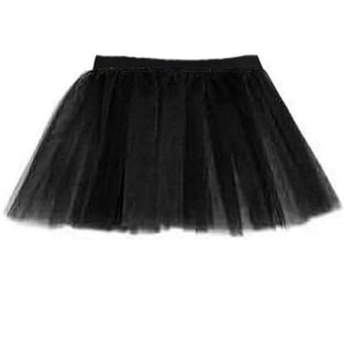 14 Neon 3 Layers of Net UV Flo Long Tutu Skirt For Hen Fancy Dress Party - Adult Size 6 to 26 - Black / 6-14 - Skirts