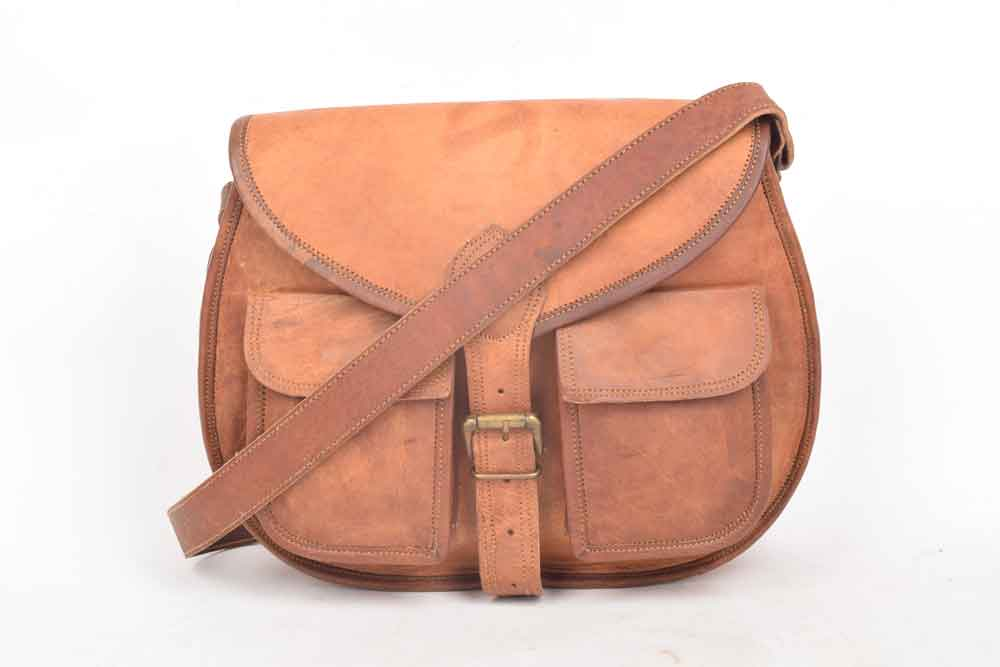 vintage brown leather shoulder bag - evans