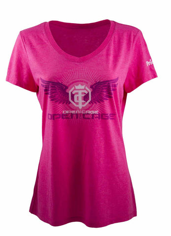 Ladies 'OZ' Let Em Come T-Shirt - Open The Cage - Plum