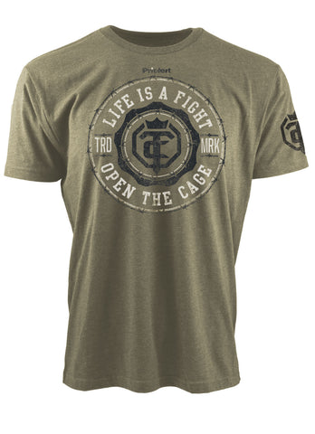 Men's 'OZ' Let Em Come T-Shirt - Open The Cage - Military Green