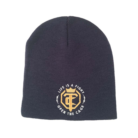 OTC Knit Beanie Black With Penny - White OTC Logo