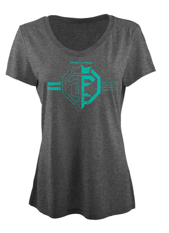 Open The Cage - Priefert - Ladies' Dragonfly Tee Shirt - Heather Caribbean Blue